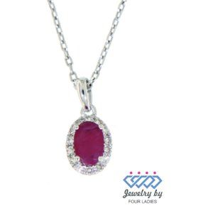 Halo Diamond Ruby Oval Shaped Pendant
